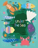 mundo com cena marinha de diferentes habitantes