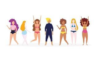 grupo diversificado de pessoas em trajes de banho