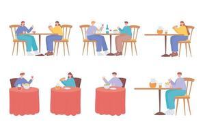 pessoas comendo em mesas postas vetor