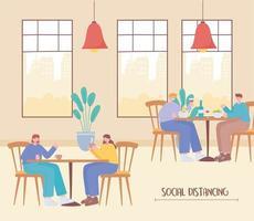 pessoas comendo e distanciamento social em um restaurante vetor