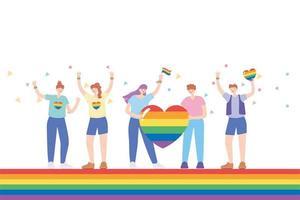 comunidade LGBTQ para parada e comemoração do orgulho vetor