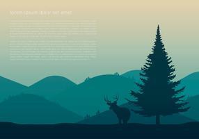 Sapin Árvore e cervos vetor
