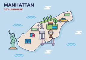 Livre Manhattan Landmark Mapa vetor