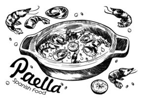 Paella espanhola Food vetor