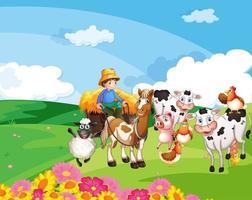 cena de fazenda com fazenda de animais vetor