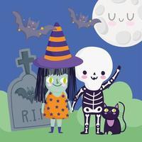 feliz desenho de halloween com crianças fantasiadas