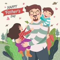 um pai e dois filhos comemorando o dia dos pais vetor