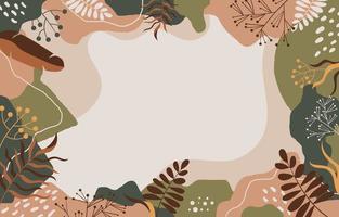 floresta flora quadro cor sólida fundo creme abstrato vetor