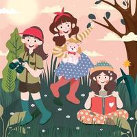 meninas comemorando o dia das crianças explorando o exterior vetor