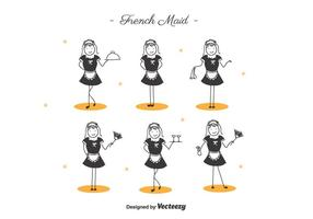 Francês dos desenhos animados Maid vetor
