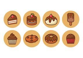 Chocolate livre ícones do bolo do esboço do vetor