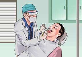 Dentista que examina um paciente vetor