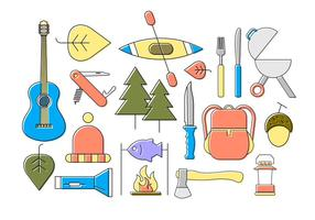 Ícones planos de acampamento vetor