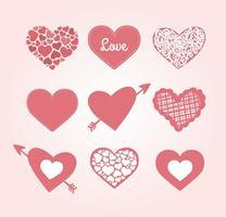 Coleção de corações bonitos vetor