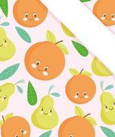 fundo bonito dos desenhos animados de frutas com banner de canto vetor