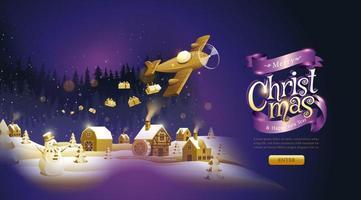 página de destino roxa e dourada de natal e ano novo