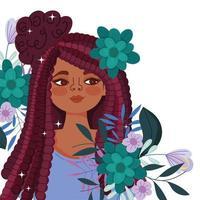 jovem afro-americana com flores vetor