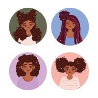 conjunto de retrato de perfil de mulher afro-americana vetor