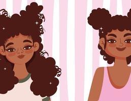 banner com duas garotas de desenho animado vetor