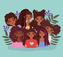 mulheres jovens afro-americanas com folhas vetor
