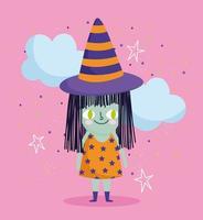 feliz dia das bruxas, fantasia de bruxa, nuvens e estrelas