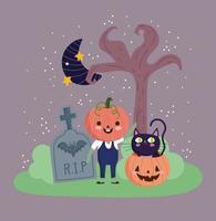 feliz dia das bruxas, fantasia de abóbora, gato e lua