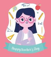 feliz dia dos professores, professor com material escolar