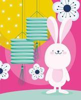 festival do meio do outono com coelho, lanternas e flores