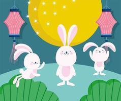 coelhos fofos com lua cheia, lanternas e natureza
