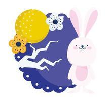 coelho feliz do festival do meio do outono, lua cheia, flor, árvore