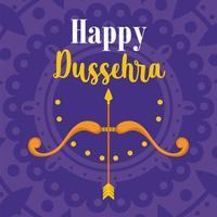 cartão do feliz festival dussehra da Índia com flechas, arcos