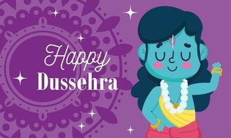 feliz festival dussehra da índia, cartão senhor rama mandala vetor