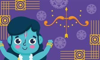 feliz festival dussehra da índia, desenho animado lord rama vetor