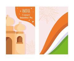 feliz dia da independência na Índia, bandeira taj mahal e fogos de artifício