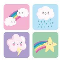ícones bonitos e coloridos do céu vetor