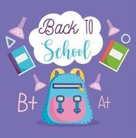 volta às aulas, mochila, tubos de ensaio de laboratório e livros