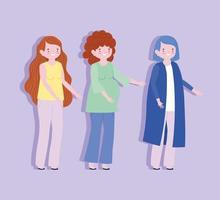 família mãe mães e mulher grávida vetor