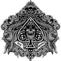 ícone do ás de espadas com filigrana e demônios vetor