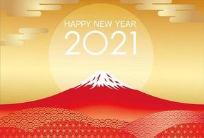 2021 modelo de cartão de ano novo com mt. Fuji vetor