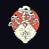 desenho animado cogumelos desenhados à mão vetor