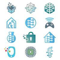 conjunto de logotipo de tecnologia e rede vetor