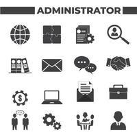 conjunto de 16 ícones de administrador vetor