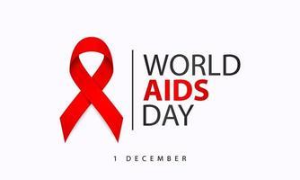 pôster do dia mundial da aids com fita vermelha vetor