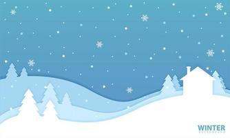 paisagem de inverno com casa em estilo recortado vetor