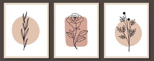 conjunto de flores com formas arte de linha contínua vetor