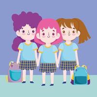 meninas em uniformes de volta ao design da escola vetor