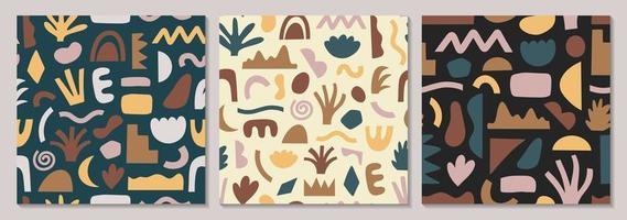 conjunto de padrões sem emenda de várias formas desenhadas à mão