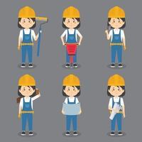 trabalhadoras da construção civil fazendo várias atividades vetor
