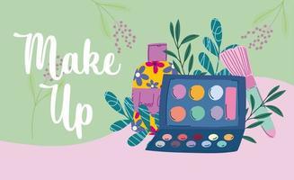 banner de produtos de maquiagem e beleza com letras vetor