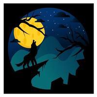 lobo uivando para a lua à noite vetor